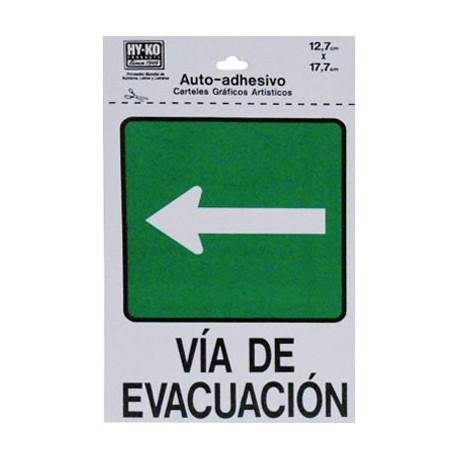 LETRERO 12.7x17.7cm VIA DE EVACUACION (IZQUIERDO) HY-KO - Envío Gratuito