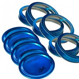 TAPAS Y AROS PARA FRASCOS AZUL COLLECTION ELITE BALL BOCA ANCHA 6-PK