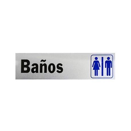 LETRERO DE ALUMINIO BANOS HY-KO. - Envío Gratuito