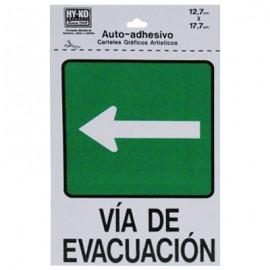 LETRERO 12.7x17.7cm VIA DE EVACUACION (IZQUIERDO) HY-KO