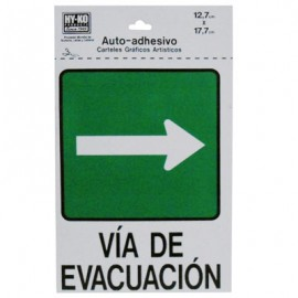 LETRERO 12.7x17.7cm VIA DE EVACUACION (DERECHO) HY-KO