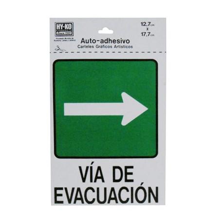 LETRERO 12.7x17.7cm VIA DE EVACUACION (DERECHO) HY-KO - Envío Gratuito