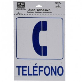 LETRERO 12.7x17.7cm TELEFONO HY-KO